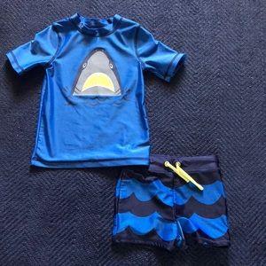 Toddler boys swim shirt and short set